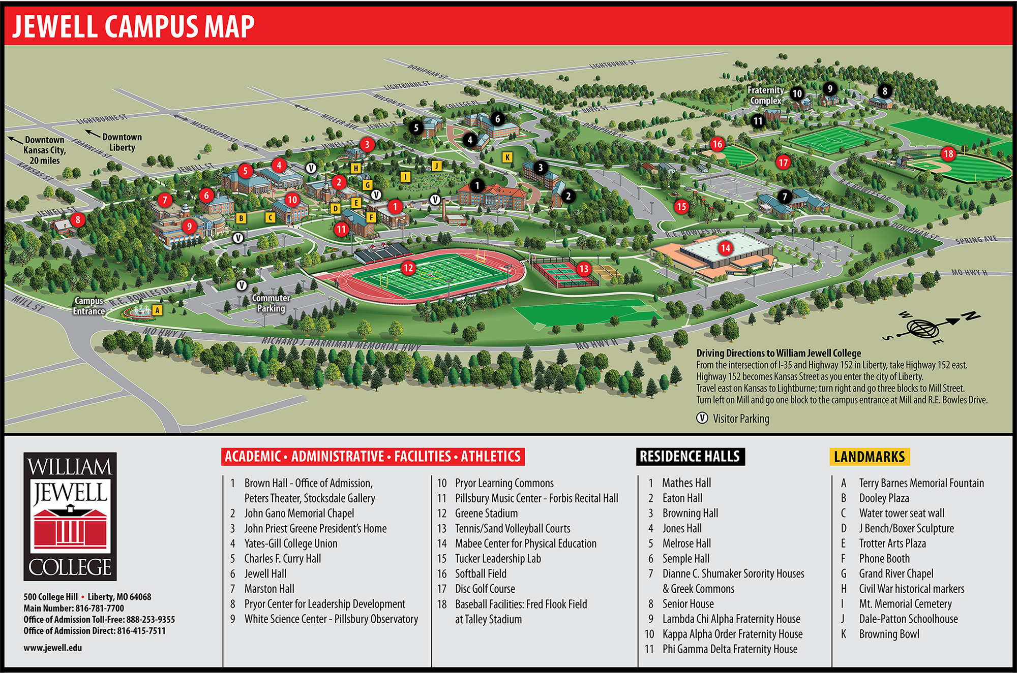 Campus map of William Jewell College